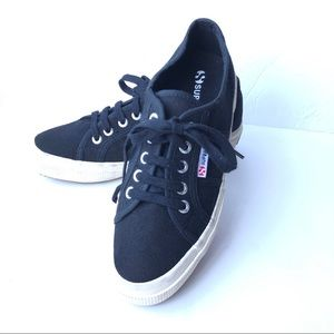 Superga Black Wedge Canvas Sneaker